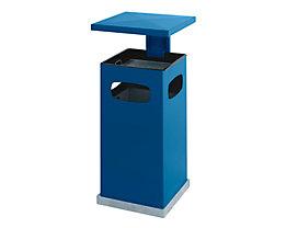 Abfallsammler für außen, mit Aschereinsatz und Schutzdach - Behälterinhalt ca. 38 l - enzianblau
