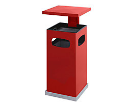 Abfallsammler für außen, mit Aschereinsatz und Schutzdach - Behälterinhalt ca. 38 l - feuerrot