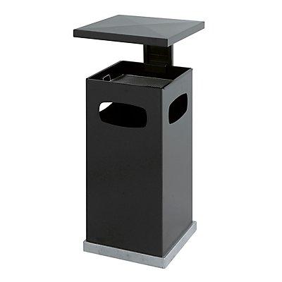 Abfallsammler für außen, mit Aschereinsatz und Schutzdach - Behälterinhalt ca. 38 l - schwarzgrau