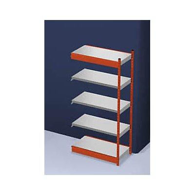 hofe Stabil-Steckregal, einseitig - Regalhöhe 2000 mm, orange/verzinkt, Bodenbreite 1025 mm