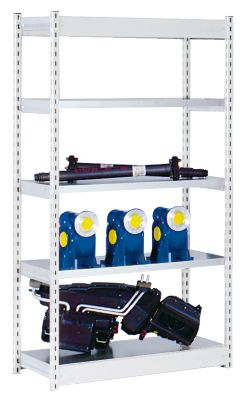 Stabil-Steckregal, einseitig - Regalhöhe 2000 mm, lichtgrau/verzinkt, Bodenbreite 1025 mm