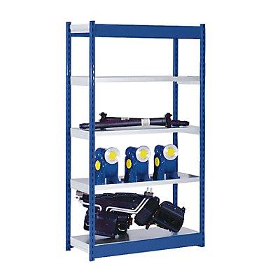 hofe Stabil-Steckregal, einseitig - Regalhöhe 2000 mm, blau/verzinkt, Bodenbreite 1025 mm