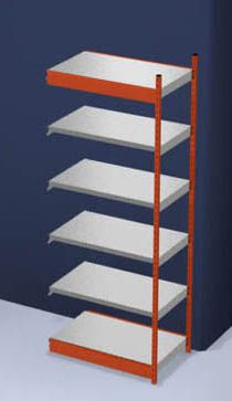 Stabil-Steckregal, einseitig - Regalhöhe 2500 mm, orange/verzinkt, Bodenbreite 1025 mm