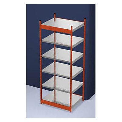hofe Stabil-Steckregal, einseitig - Regalhöhe 2500 mm, orange/verzinkt, Bodenbreite 1025 mm
