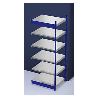Stabil-Steckregal, einseitig - Regalhöhe 2500 mm, blau/verzinkt, Bodenbreite 1025 mm