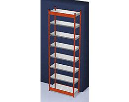 Stabil-Steckregal, einseitig - Regalhöhe 3000 mm, orange/verzinkt, Bodenbreite 1025 mm - Grundregal, Breite x Tiefe 1025 x 400 mm