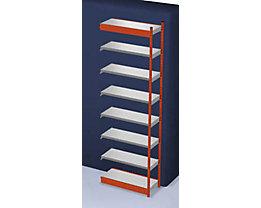 Stabil-Steckregal, einseitig - Regalhöhe 3000 mm, orange/verzinkt, Bodenbreite 1025 mm - Anbauregal, Breite x Tiefe 1025 x 400 mm