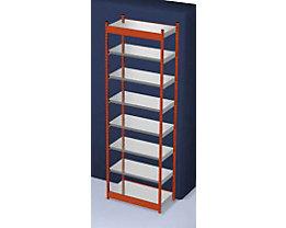 Stabil-Steckregal, einseitig - Regalhöhe 3000 mm, orange/verzinkt, Bodenbreite 1025 mm - Grundregal, Breite x Tiefe 1025 x 500 mm