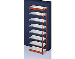 Stabil-Steckregal, einseitig - Regalhöhe 3000 mm, orange/verzinkt, Bodenbreite 1025 mm - Anbauregal, Breite x Tiefe 1025 x 500 mm