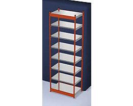 Stabil-Steckregal, einseitig - Regalhöhe 3000 mm, orange/verzinkt, Bodenbreite 1025 mm - Grundregal, Breite x Tiefe 1025 x 600 mm