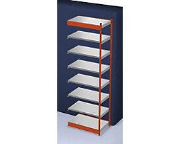 Stabil-Steckregal, einseitig - Regalhöhe 3000 mm, orange/verzinkt, Bodenbreite 1025 mm - Anbauregal, Breite x Tiefe 1025 x 600 mm