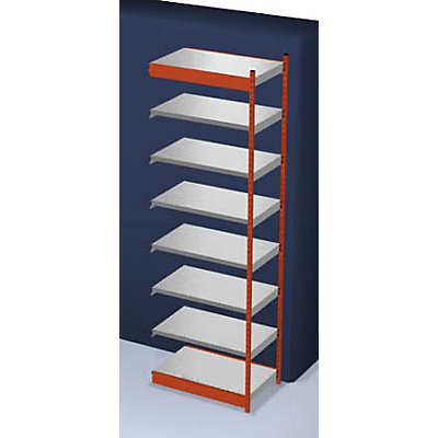 hofe Stabil-Steckregal, einseitig - Regalhöhe 3000 mm, orange/verzinkt, Bodenbreite 1025 mm