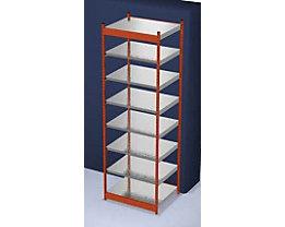 Stabil-Steckregal, einseitig - Regalhöhe 3000 mm, orange/verzinkt, Bodenbreite 1025 mm - Grundregal, Breite x Tiefe 1025 x 800 mm