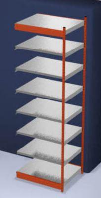 Stabil-Steckregal, einseitig - Regalhöhe 3000 mm, orange/verzinkt, Bodenbreite 1025 mm