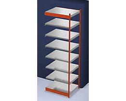 Stabil-Steckregal, einseitig - Regalhöhe 3000 mm, orange/verzinkt, Bodenbreite 1025 mm - Anbauregal, Breite x Tiefe 1025 x 800 mm
