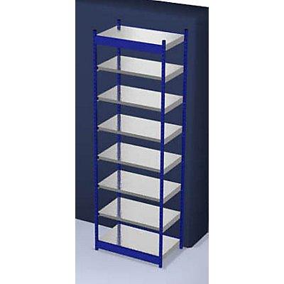 hofe Stabil-Steckregal, einseitig - Regalhöhe 3000 mm, blau/verzinkt, Bodenbreite 1025 mm