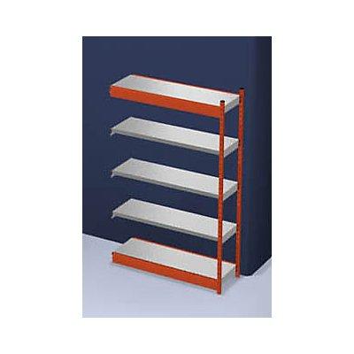 hofe Stabil-Steckregal, einseitig - Regalhöhe 2000 mm, orange/verzinkt, Bodenbreite 1325 mm