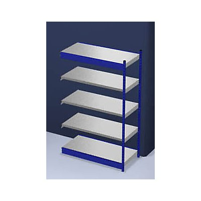 hofe Stabil-Steckregal, einseitig - Regalhöhe 2000 mm, blau/verzinkt, Bodenbreite 1325 mm