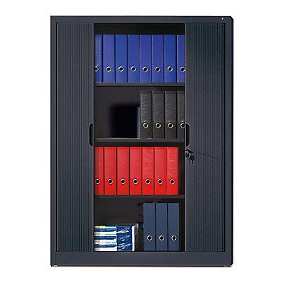 CP Rollladenschrank mit Horizontal-Jalousie - HxBxT 1660 x 1200 x 420 mm, 3 Fachböden, 4 Ordnerhöhen - lichtgrau