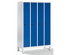CP Garderobenschrank mit Kunststoff-Füßen - Abteilbreite 300 mm, HxBxT 1850 x 1200 x 500 mm - lichtgrau / enzianblau