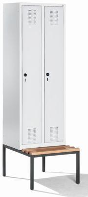 CP Garderobenschrank mit untergebauter Sitzbank - Abteilbreite 300 mm, HxBxT 2090 x 600 x 815 mm