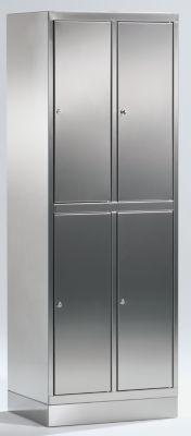 Edelstahlschrank - Garderobenschrank - 4 Fächer mit je 1 Kleiderstange