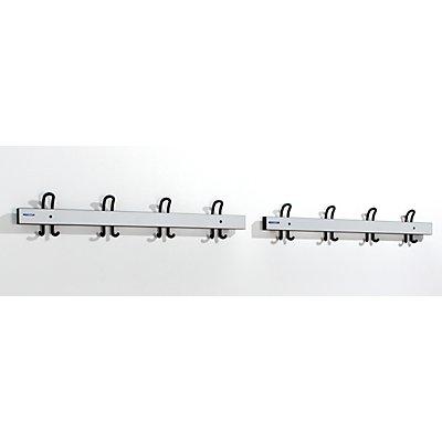 Wolf Garderobenleiste mit Doppelhaken - Länge 2 x 1000 mm, 2 x 4 Doppelhaken - lichtgrau