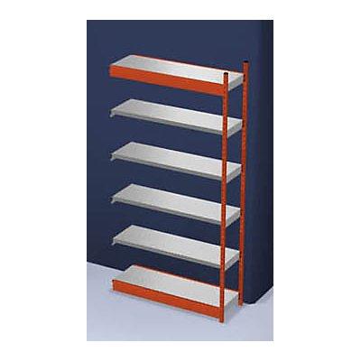 hofe Stabil-Steckregal, einseitig - Regalhöhe 2500 mm, orange/verzinkt, Bodenbreite 1325 mm