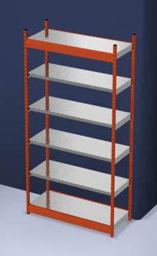 Stabil-Steckregal, einseitig - Regalhöhe 2500 mm, orange/verzinkt, Bodenbreite 1325 mm