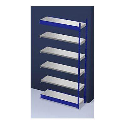 hofe Stabil-Steckregal, einseitig - Regalhöhe 2500 mm, blau/verzinkt, Bodenbreite 1325 mm