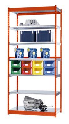 Stabil-Steckregal, einseitig - Regalhöhe 3000 mm, orange/verzinkt, Bodenbreite 1325 mm