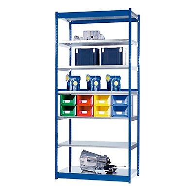 hofe Stabil-Steckregal, einseitig - Regalhöhe 3000 mm, blau/verzinkt, Bodenbreite 1325 mm