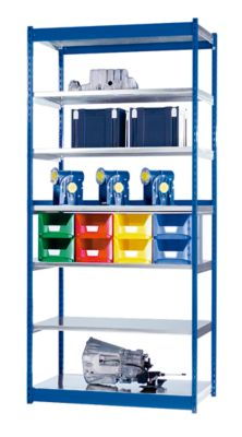 Stabil-Steckregal, einseitig - Regalhöhe 3000 mm, blau/verzinkt, Bodenbreite 1325 mm