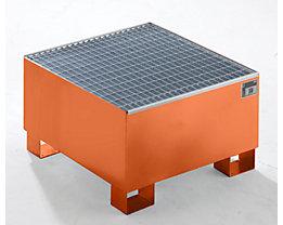 QUIPO Auffangwanne aus Stahlblech - LxBxH 800 x 800 x 465 mm, mit Gitterrost