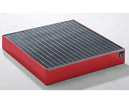 QUIPO Paletten-Auffangwanne - LxBxH 1200 x 1200 x 185 mm, mit Gitterrost