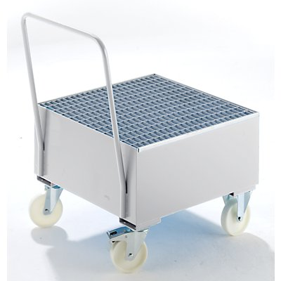 BAUER Auffangwanne aus Stahlblech, fahrbar - für 200-l-Fass, 1 x stehend