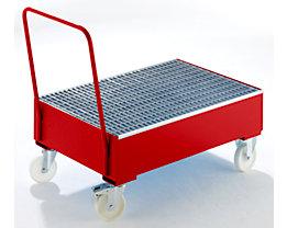 Auffangwanne aus Stahlblech, fahrbar - für 200-l-Fässer, 2 x stehend, rot RAL 3000