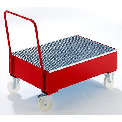 Auffangwanne aus Stahlblech, fahrbar - für 200-l-Fässer, 2 x stehend
