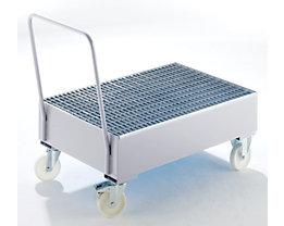 Auffangwanne aus Stahlblech, fahrbar - für 200-l-Fässer, 2 x stehend, feuerverzinkt