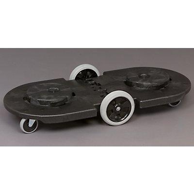 Fahrgestell für Rundtonne - Tandem-Fahrgestell - 4 Lenkrollen, 2 große Bockrollen