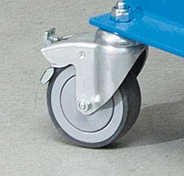 EUROKRAFT Materialständer, Tragfähigkeit 150 kg, fahrbar - Höhenverstellbereich 720 – 1050 mm, Höhenverstellung durch Arretierung mit Federriegel