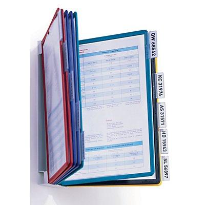 Durable Wandhalter-Komplett-Set - mit 10 Klarsichttafeln DIN A4, inklusive Aufsteckreitern
