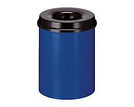Papierkorb, flammverlöschend - Inhalt 15 l, Höhe 360 mm - kobaltblau/ schwarz