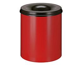 Papierkorb, flammverlöschend - Inhalt 80 l, Höhe 550 mm - Korpus rot RAL 3000 / Löschkopf schwarz RAL 9011