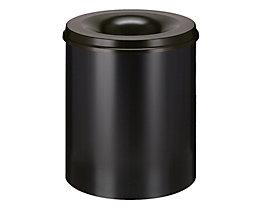Papierkorb, flammverlöschend - Inhalt 80 l, Höhe 550 mm - Korpus schwarz RAL 9011 / Löschkopf schwarz RAL 9011