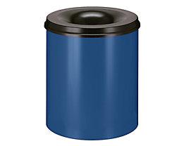 Papierkorb, flammverlöschend - Inhalt 80 l, Höhe 550 mm - Korpus kobaltblau RAL 5013 / Löschkopf schwarz RAL 9011