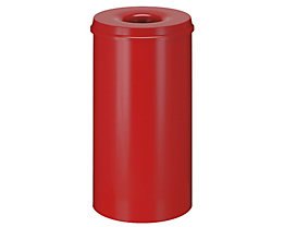 Papierkorb, flammverlöschend - Inhalt 50 l, Höhe 625 mm - Korpus rot RAL 3000 / Löschkopf rot RAL 3000