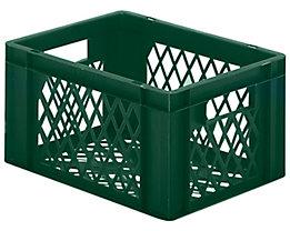 Euro-Format-Stapelbehälter, Wände und Boden durchbrochen - LxBxH 400 x 300 x 210 mm - grün, VE 5 Stk