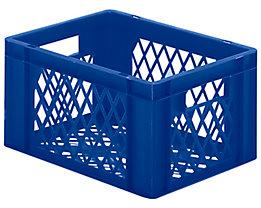 Euro-Format-Stapelbehälter, Wände und Boden durchbrochen - LxBxH 400 x 300 x 210 mm - blau, VE 5 Stk
