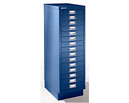 Bisley Schubladenschrank - 15 Schubladen für Format DIN A4 - kobaltblau